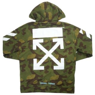 OFF WHITE オフホワイト 18AW DIAG CAMOUFLAGE HOODIE パーカー 緑 Size【S】 【中古品-良い】【中古】