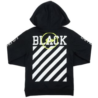 OFF WHITE ×Fragment Design フラグメントデザイン OFF-BLACK BLACK STRIPES HOODIE パーカー 黒 Size【L】 【中古品-良い】