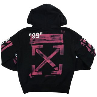 OFF WHITE オフホワイト 19SS DIAG STENCIL SLIM HOODIE パーカー 黒 Size【M】 【中古品-良い】【中古】