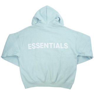 Fear of God フィアーオブゴッド Essentials Pullover Hoodie バックリフレクターロゴプリントパーカー 水色 Size【S】 【新古品・未使用品】