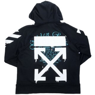 OFF WHITE オフホワイト 20SS DRIPPING ARROWS INCOMPLETE HOODIE パーカー 黒 Size【M】 【中古品-良い】【中古】