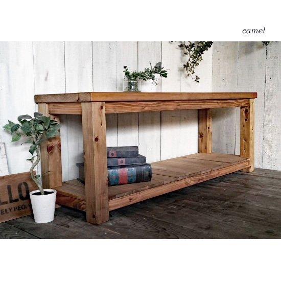 アンティーク風 無垢材の棚板付きベンチ TVボード/ローテーブル BT-012