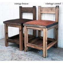 アンティーク風 無垢材×本革レザーのチェアー  飲食店椅子 店舗用チェアー CS-055