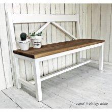 アンティーク風 無垢材 フレンチアンティーク風ベンチ 背板付きベンチ BT-010