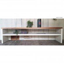 アンティーク風 無垢材のTVボード フリーラック ローテーブル W165cm TB-005
