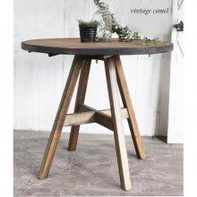 アンティーク風無垢材テーブル 2人用 クロス脚 カフェテーブル MT-022