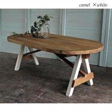 アンティーク風無垢材カフェテーブル 楕円センターテーブル CT-005