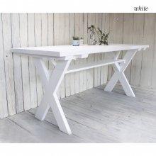 アンティーク風無垢材 クロス脚テーブル DT-010