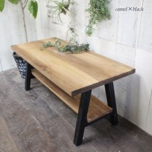 アンティーク風無垢材 棚板付きカフェテーブル CT-006