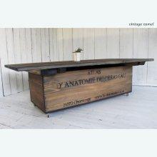 アンティーク風無垢材 ローテーブル ボックス脚テーブル  LT-029