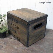 アンティーク風 無垢材のフタ付きBOX 収納 裁縫箱 救急箱 ディスプレー SHOP什器 WB-016