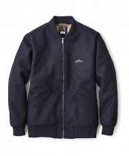 MELTON ZIP VARSITY JACKET - NAVY
