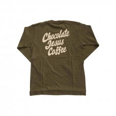 CHOCOLATE JESUS COFFEE LOGO L/S - OLIVE