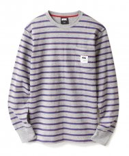 STRIPED L/S TEE - GREY