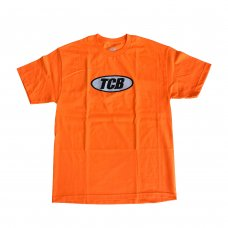 METALLIC OVAL LOGO TEE - ORANGE