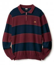 STRIPED KNIT POLO - NAVY