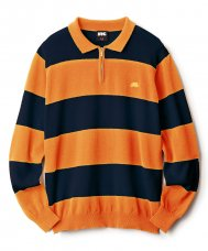 STRIPED KNIT POLO - ORANGE