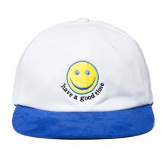 SMILE 6 PANEL CAP - WHITE/BLUE