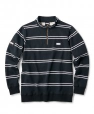 <img class='new_mark_img1' src='https://img.shop-pro.jp/img/new/icons5.gif' style='border:none;display:inline;margin:0px;padding:0px;width:auto;' />STRIPE HALF ZIP SWEATSHIRT - BLACK