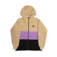 COUSINS HOODED TOP - TAN/PURPLE/BLACK