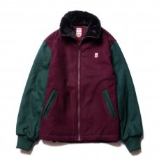 ZIP-UP WOOL STADIUM JACKET - MAROON