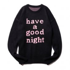 HAVE A GOOD NIGHT KNIT SWEATER - BLACK