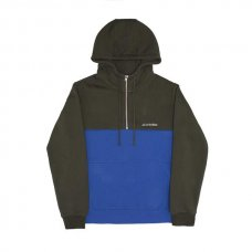 STRUCK HALF ZIP HOODY - GREEN/BLUE