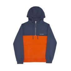 STRUCK HALF ZIP HOODY - BLUE/ORANGE