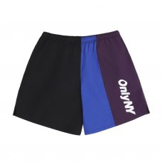 COLOR BLOCK TRACK SHORTS - BLACK/MULTI