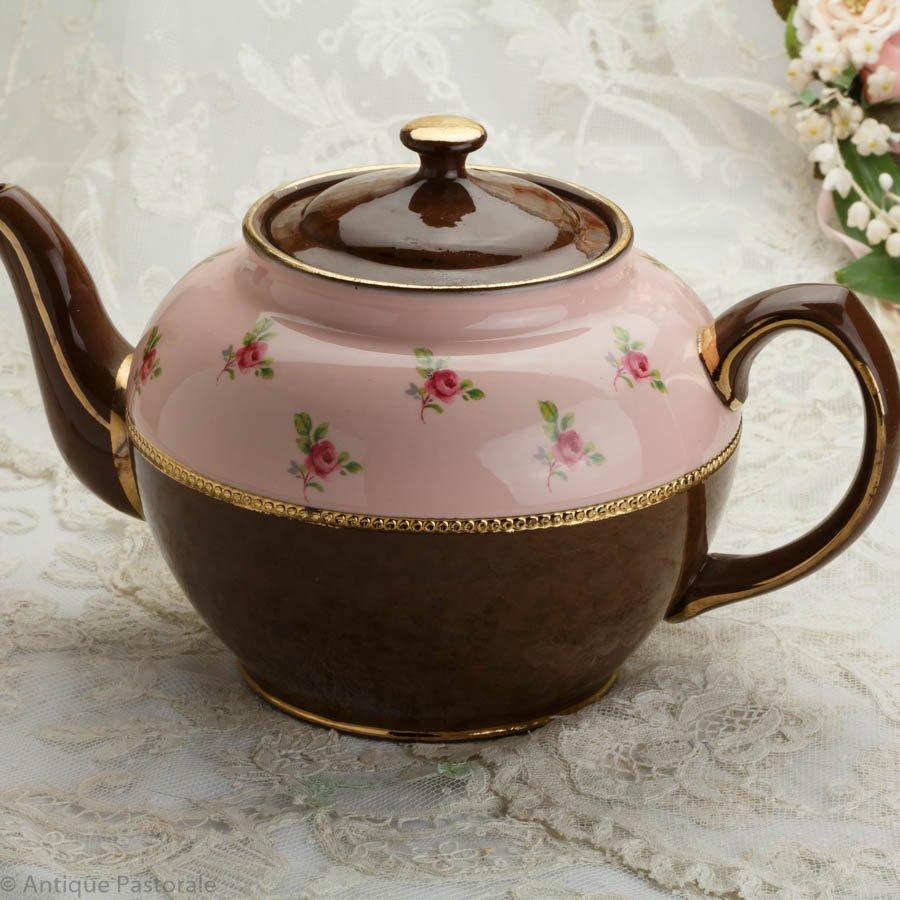 ジェームズ・サドラー ブラウンベティー ピンクの薔薇 ティーポット