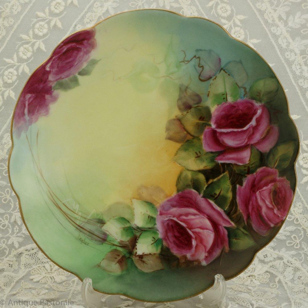 リモージュ フランス ハンドペイント 気品あふれる薔薇の絵皿 サイン入り