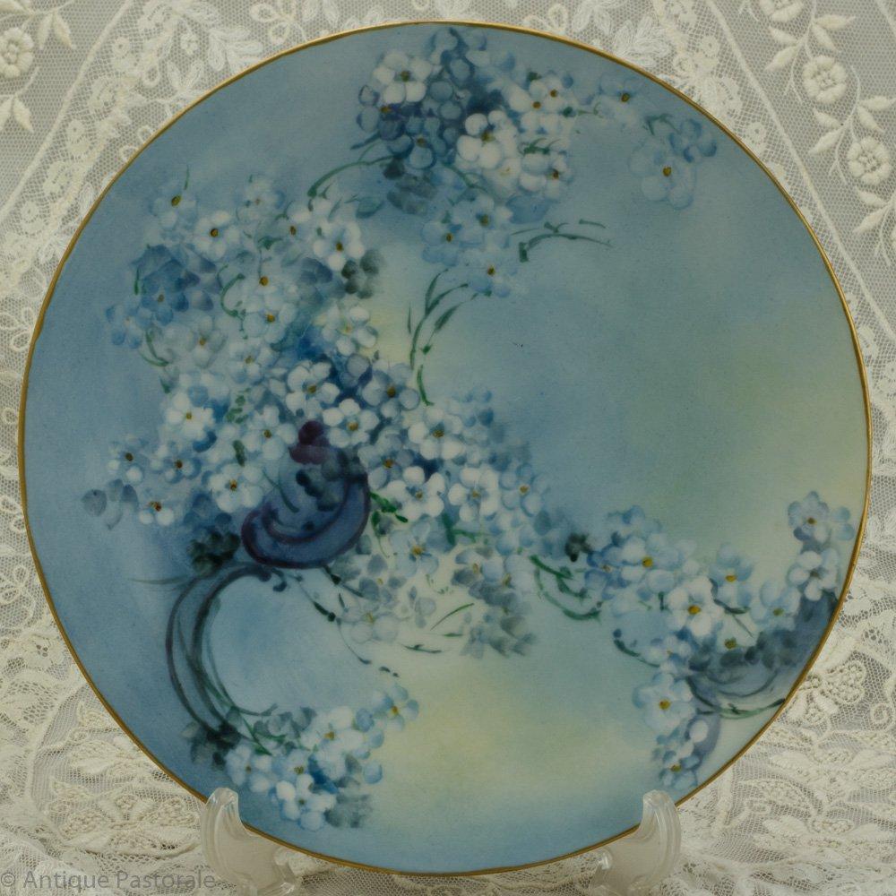 ピルケンハンマー ハンドペイント 勿忘草の青い飾り皿