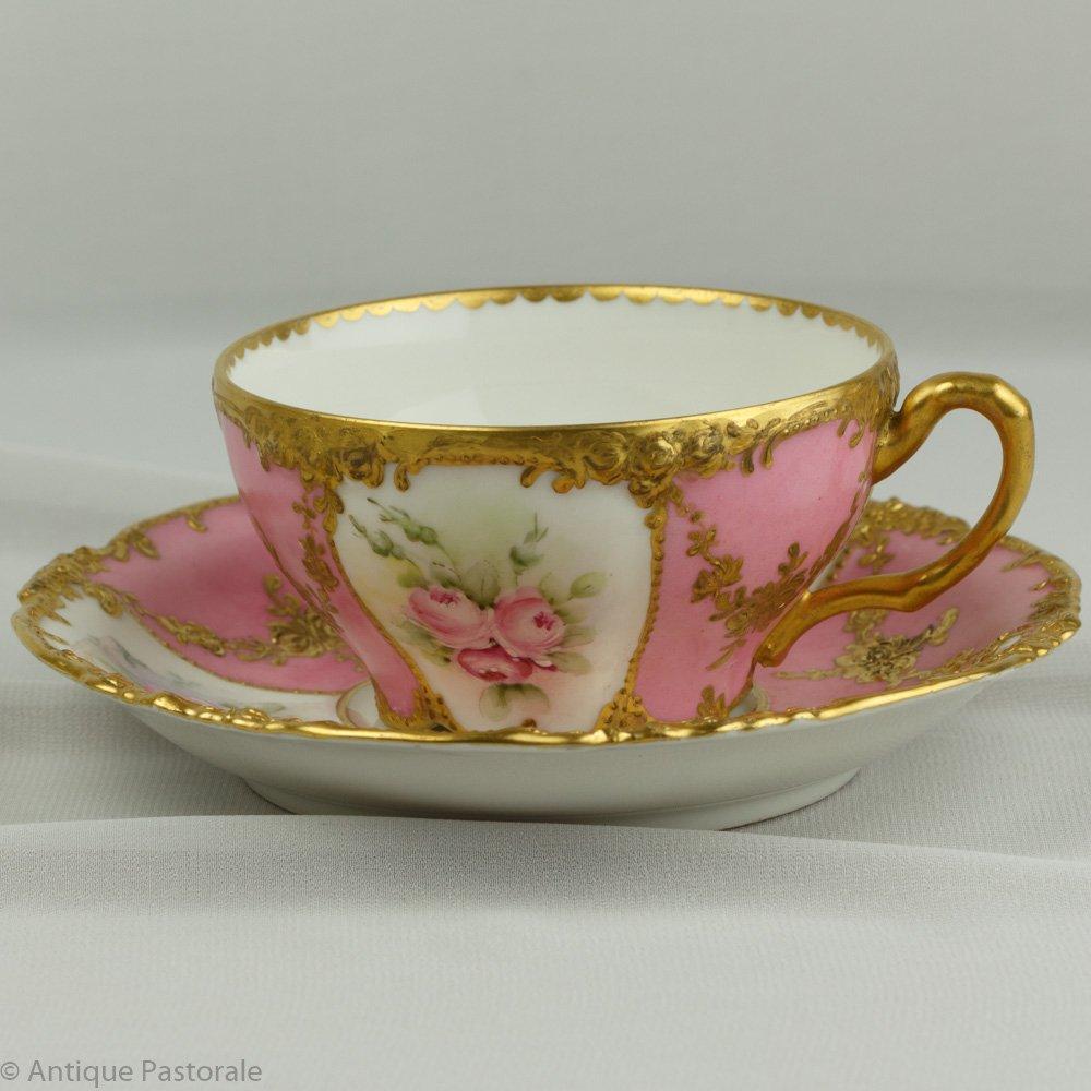 リモージュ ジャン・プーヤ ピンクの薔薇のエレガントなカップ&ソーサー 1892〜1932