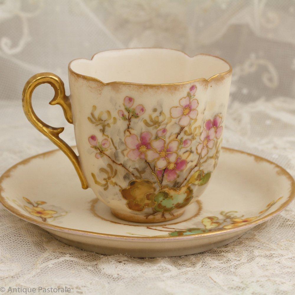 チェコ製 A. STELLMACHER TURN Teplitz porzellan アーモンドの花 やさしい雰囲気のカップ&ソーサー 1859~1934年頃
