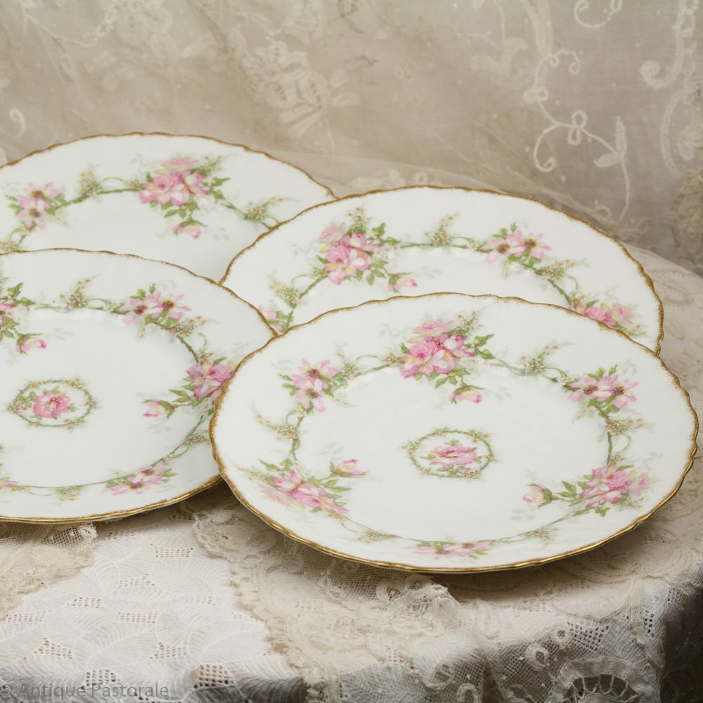 リモージュ テオドール・アビランド 二重の薔薇のリース ケーキプレート 4枚セット