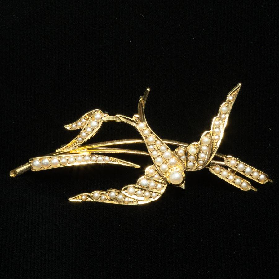 シードパールとゴールド ツバメと蒲の穂  ブローチ アンティーク 1905年