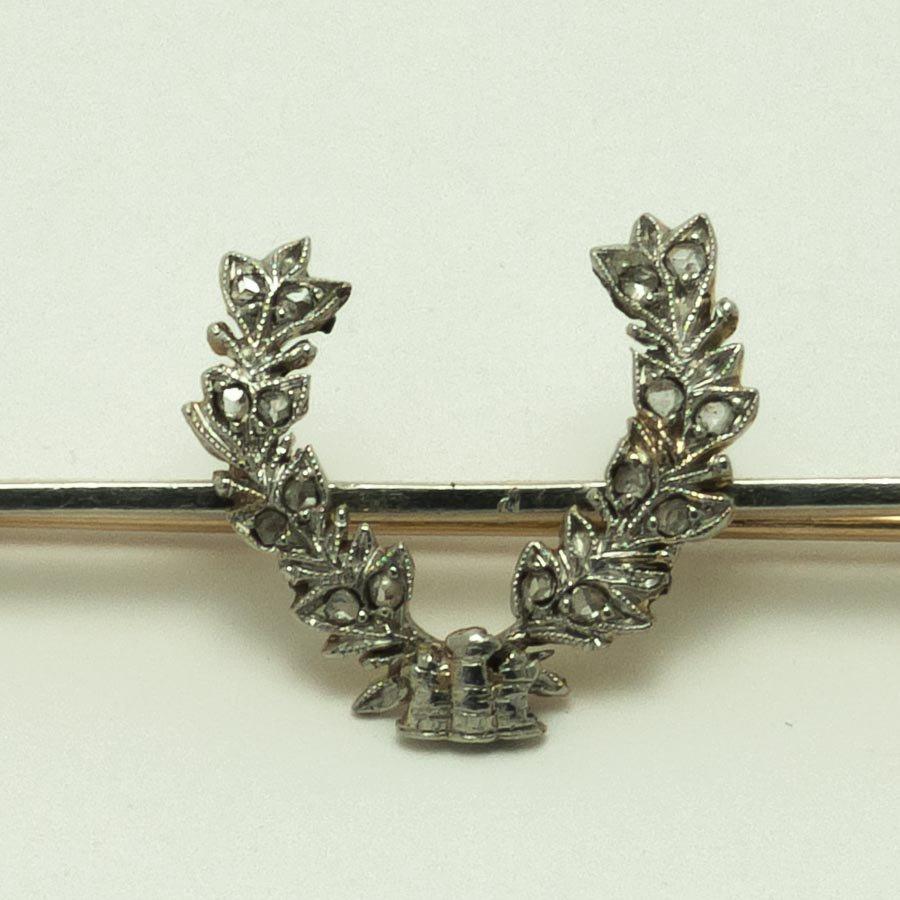 ローズカットダイヤ・15金・プラチナ 月桂樹 ブローチ 1930年頃