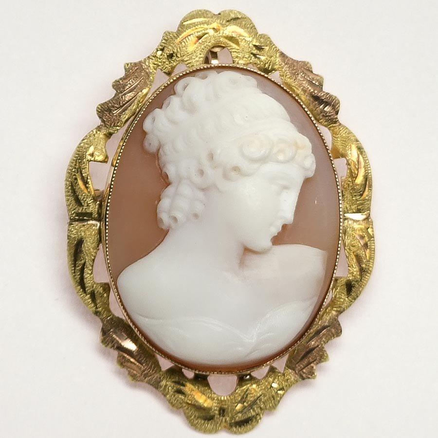 麗しの婦人 14金 シェルカメオ ブローチ ヴィクトリア時代