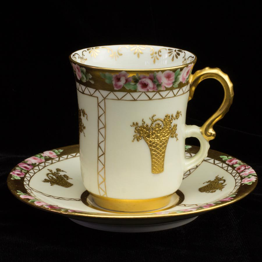 リモージュ ジャンプーヤ バラと金の花かご ココアカップ&ソーサー