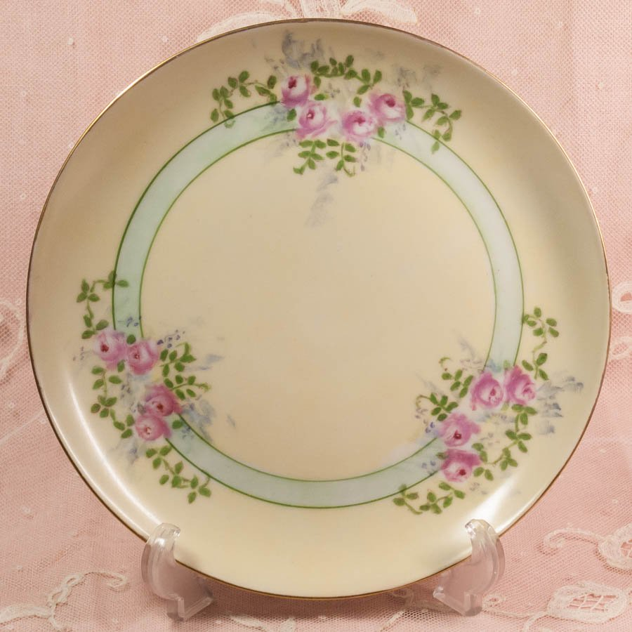 リモージュ ハンドペイント ピンクローズ イエロー デザート皿