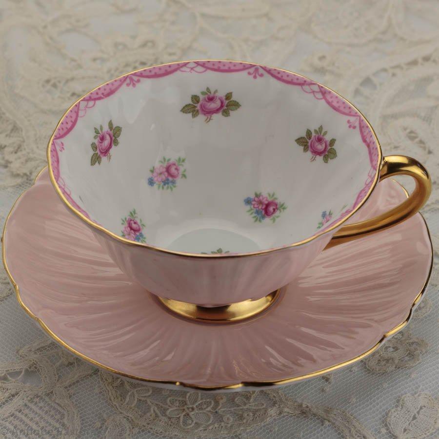 ヴィンテージ シェリー ピンクのOleander 「薔薇」 カップ&ソーサー