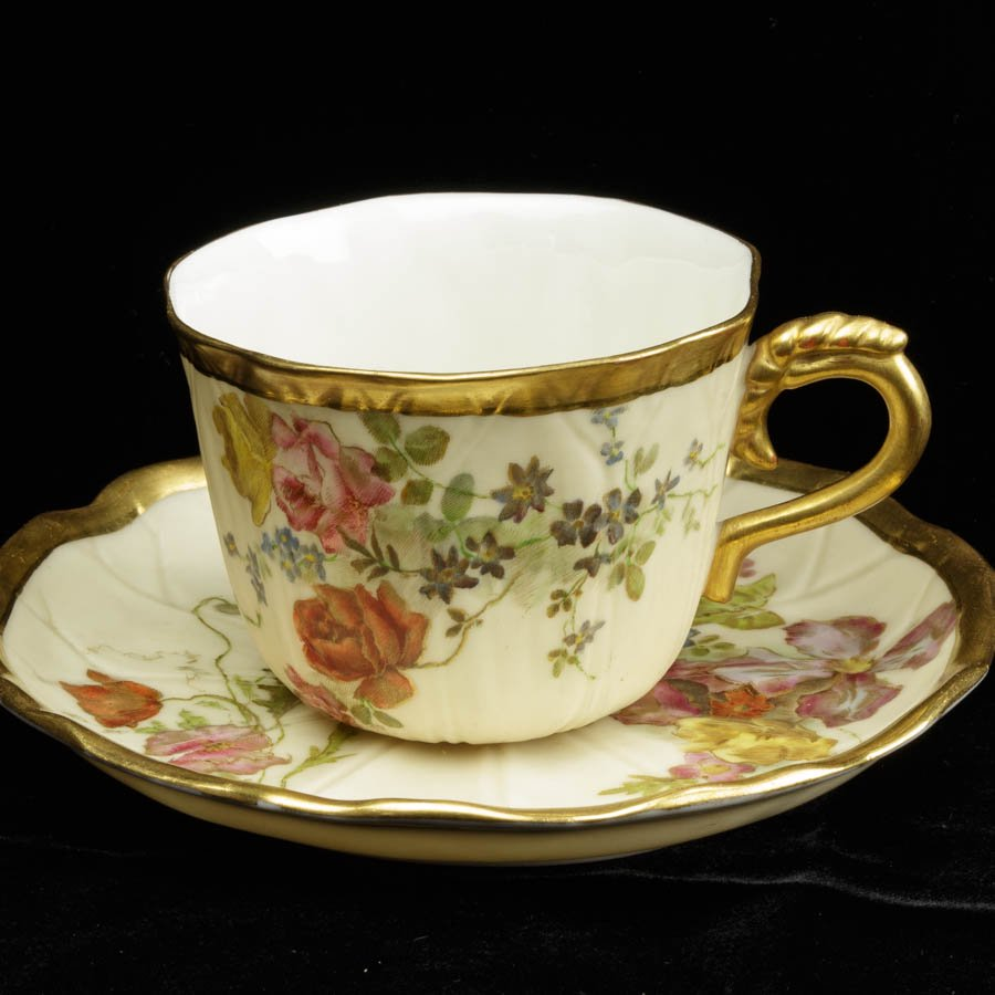 ロイヤルウースター Royal Worcester 1895年 草花のカップ&ソーサーA