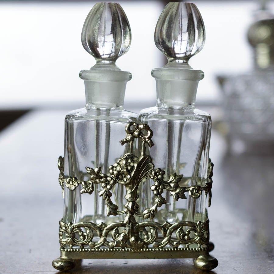 ビンテージ クリスタル シルバープレート 花かご 香水ビン
