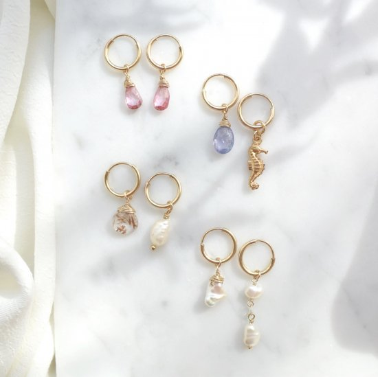 〈14KGF-Hoop earrings〉a-d