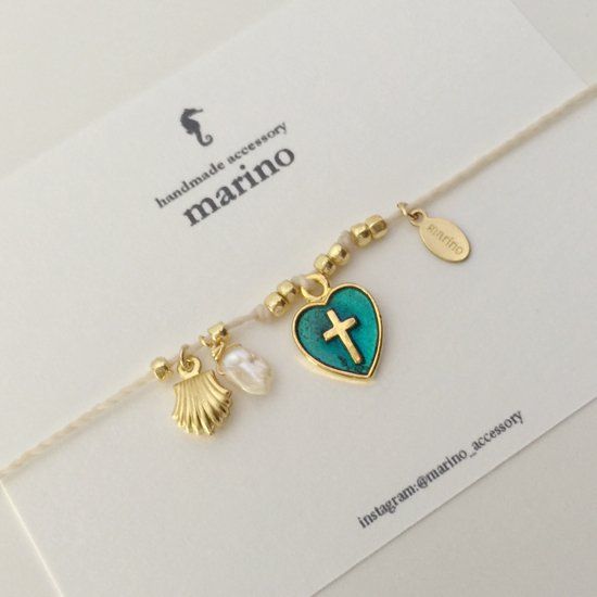 〈WB-1〉White × Blue heart medal