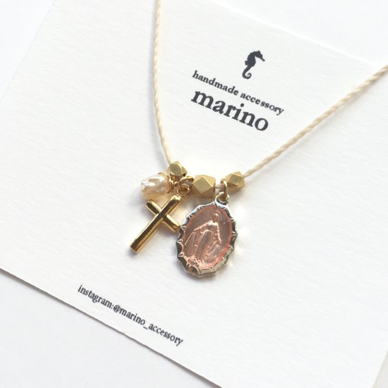 Medal & Cross Necklace - Pink medal-