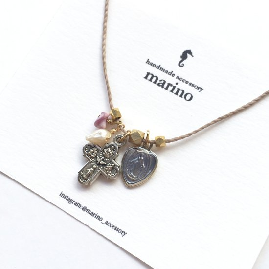 Medal & Cross Necklace - Purple heart medal-