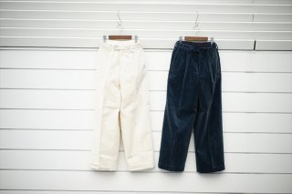 Phlannelフランネル Cotton Corduroy Wide Trousers/Ivory/Iron Blue/