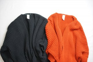 O project/オープロジェクト Knitted Cardigan/Black/Blood Orange