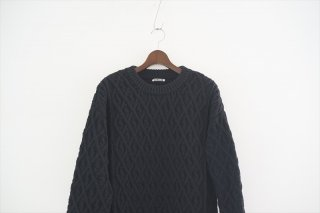 AURALEE(オーラリー)Hard Twist Merino Aran Knit Big P/O /Black
